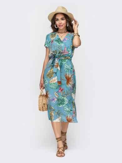 Голубое платье из штапеля с принтом и разрезами по бокам 49150, фото 1
