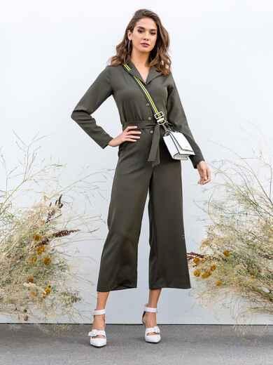 Комбинезон цвета хаки на пуговицах с брюками-кюлотами 40671, фото 1