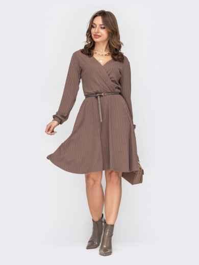 Коричневое платье из трикотажа с фиксированным запахом 53042, фото 1