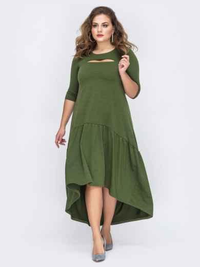 Платье батал А-силуэта цета хаки 43724, фото 1