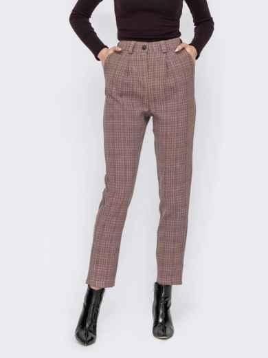 Пудровые брюки в клетку с завышенной талией 53127, фото 1