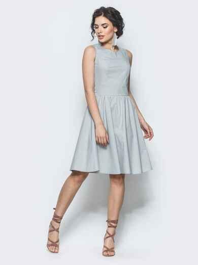 Серое полуприталенное платье с втачным поясом - 12675, фото 1 – интернет-магазин Dressa