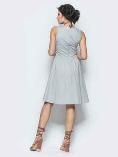 Серое полуприталенное платье с втачным поясом - 12675, фото 2 – интернет-магазин Dressa