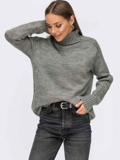 Серый свитер с высоким воротником и полосами на рукавах 54962, фото 1