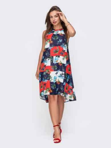 Шифоновое платье-трапеция с принтом тёмно-синее 49093, фото 2