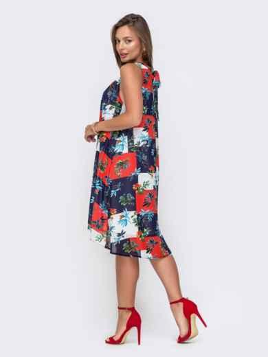 Шифоновое платье-трапеция с принтом тёмно-синее 49093, фото 3