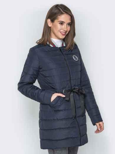 Удлиненная куртка-бомбер с кулиской на талии синяя - 20249, фото 2 – интернет-магазин Dressa