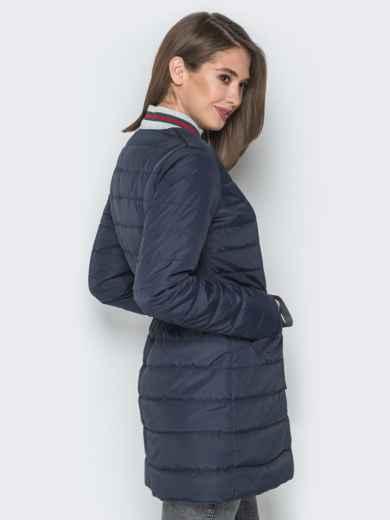 Удлиненная куртка-бомбер с кулиской на талии синяя - 20249, фото 3 – интернет-магазин Dressa