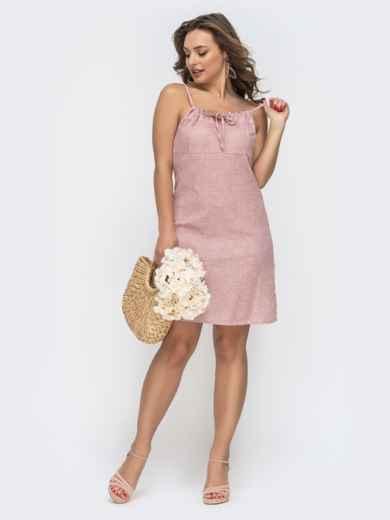 Розовый сарафан-трапеция в цветочный принт 47064, фото 1