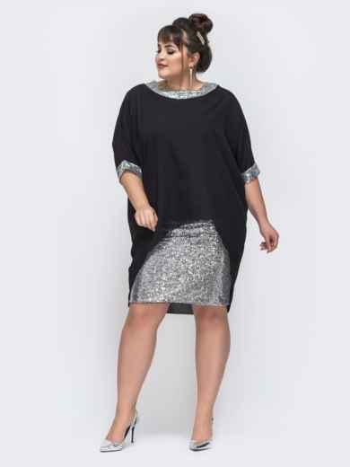 Чёрное платье с пайетками и шифоновым верхом 43718, фото 1