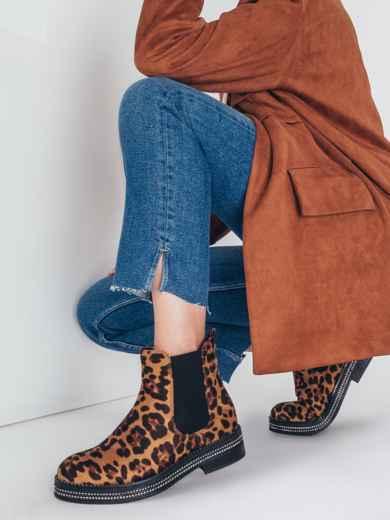 Демисезонные ботинки из искусственной замши с леопардовым принтом 51392, фото 1