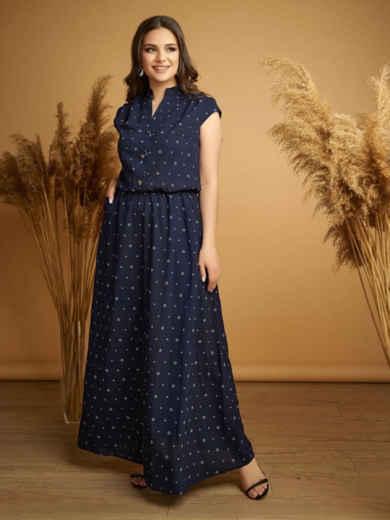 Длинное платье батал тёмно-синего цвета с принтом и напуском по талии 48735, фото 1