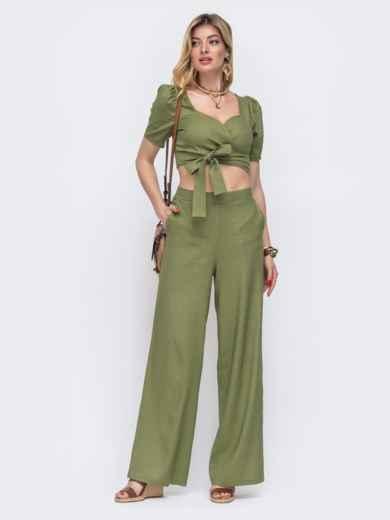 Комплект из брюки и топа на запах цвета хаки  48178, фото 1