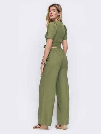 Комплект из брюки и топа на запах цвета хаки  48178, фото 4
