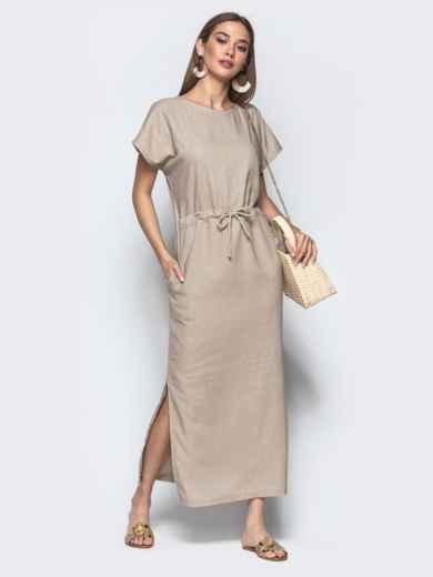 Льняное платье бежевого цвета с кулиской по талии - 21897, фото 1 – интернет-магазин Dressa