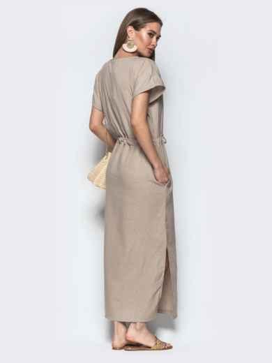 Льняное платье бежевого цвета с кулиской по талии - 21897, фото 2 – интернет-магазин Dressa