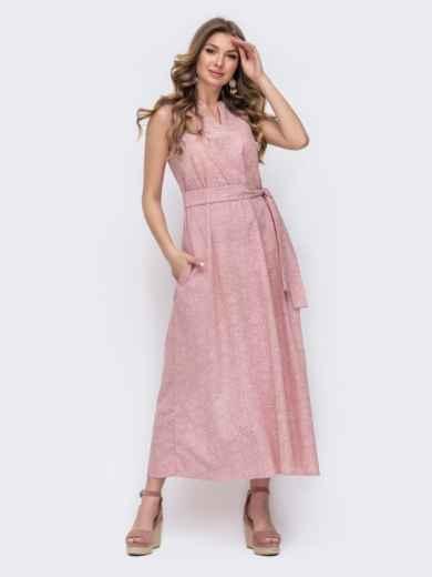 Розовое платье свободного кроя с цветочным принтом 47053, фото 1