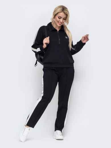 Спортивный костюм большого размера с брюками черный 50917, фото 1