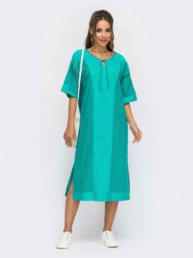 Свободное платье из прошвы с разрезами по бокам бирюзовое 54488, фото 1