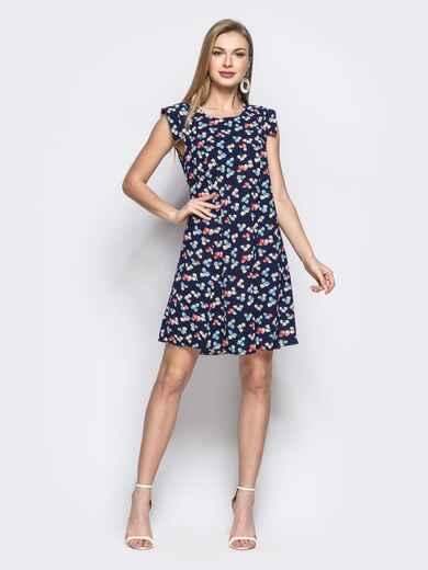 Тёмно-синее платье с принтом прямого кроя - 21614, фото 1 – интернет-магазин Dressa