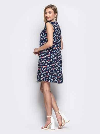 Тёмно-синее платье с принтом прямого кроя - 21614, фото 2 – интернет-магазин Dressa