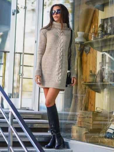 Вязаная туника с объемным плотным воротником - 13175, фото 2 – интернет-магазин Dressa