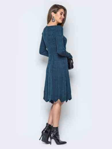 Вязаное платье с юбкой-колокол и косами - 18831, фото 3 – интернет-магазин Dressa