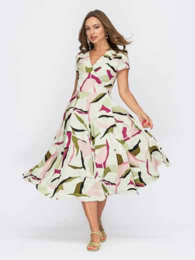 Зелене плаття на запах з абстрактним принтом 53932, фото 1