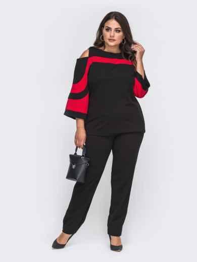 Брючный комплект большого размера с блузкой красный 50732, фото 1