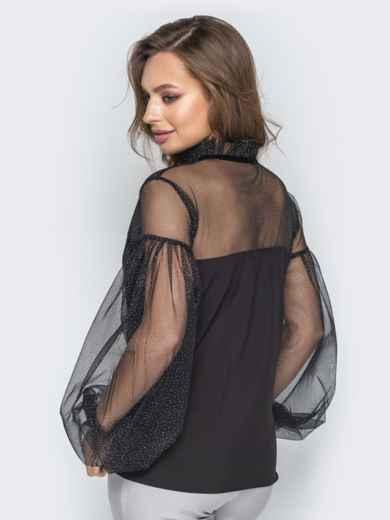 Чёрная блузка с объемными рукавами и кокеткой из сетки - 20877, фото 3 – интернет-магазин Dressa