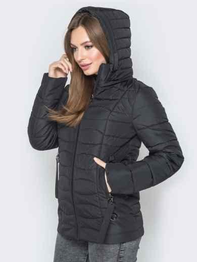 Чёрная куртка с воротником-стойкой и съёмным капюшоном - 20294, фото 2 – интернет-магазин Dressa