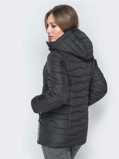 Чёрная куртка с воротником-стойкой и съёмным капюшоном - 20294, фото 3 – интернет-магазин Dressa