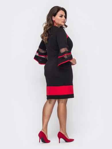 Чёрное платье большого размера с рукавам-колоколом 50742, фото 2