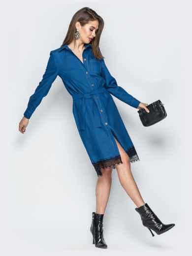 Джинсовое платье-рубашка синего цвета - 18757, фото 2 – интернет-магазин Dressa