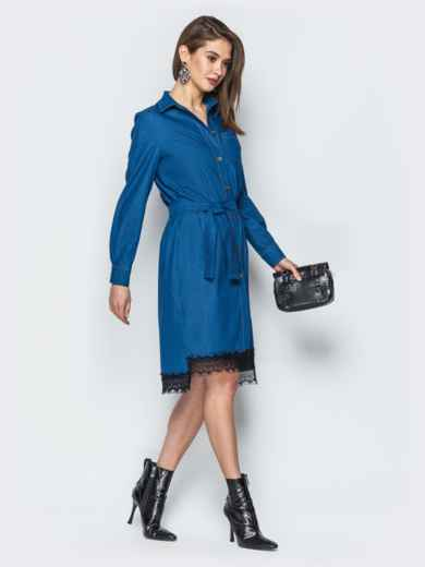 Джинсовое платье-рубашка синего цвета - 18757, фото 3 – интернет-магазин Dressa