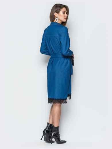 Джинсовое платье-рубашка синего цвета - 18757, фото 4 – интернет-магазин Dressa