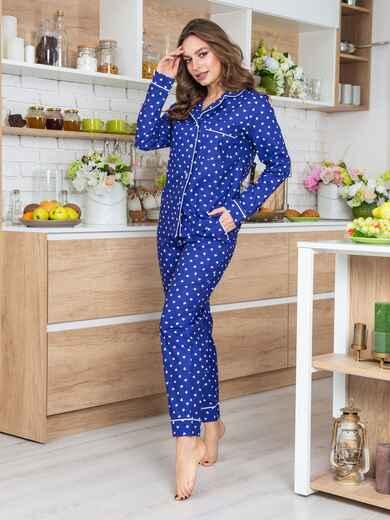 Синяя хлопковая пижама с принтом на рубашке и брюках - 20685, фото 1 – интернет-магазин Dressa