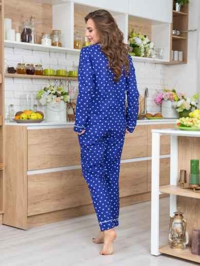 Синяя хлопковая пижама с принтом на рубашке и брюках - 20685, фото 2 – интернет-магазин Dressa
