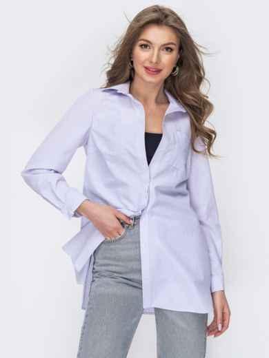Удлиненная рубашка из хлопка в фиолетовую полоску 53571, фото 1