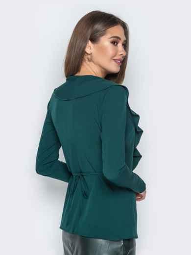 Зелёная блузка с запахом и воланом по вырезу - 21141, фото 2 – интернет-магазин Dressa