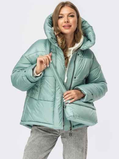 Зимняя куртка бирюзового цвета с сумкой в комплекте 55089, фото 1