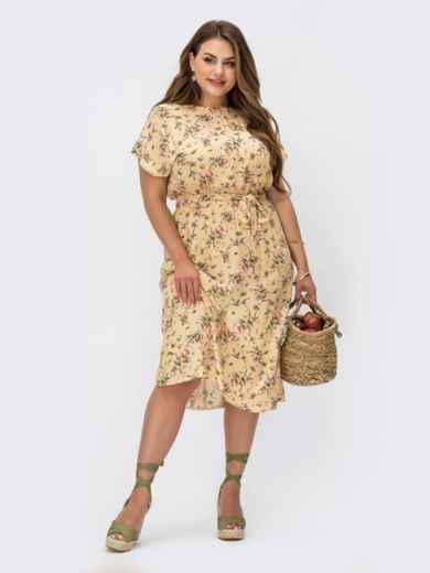 Бежевое платье батал с цветочным принтом и резинкой в поясе 54461, фото 1