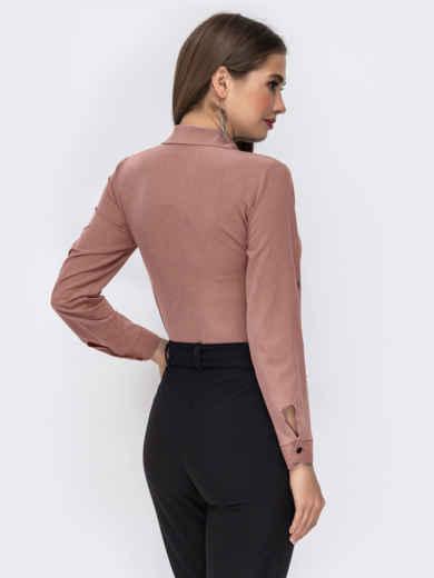 Блузка бежевого цвета со шлевками на рукавах 50925, фото 2