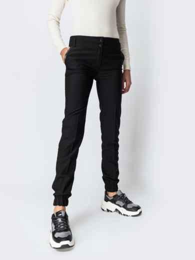 Брюки-джоггеры на флисе чёрные - 42357, фото 1 – интернет-магазин Dressa