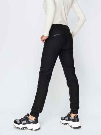 Брюки-джоггеры на флисе чёрные - 42357, фото 2 – интернет-магазин Dressa