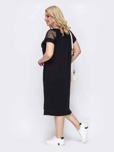 Чёрное платье батал прямого кроя с вышивкой  49895, фото 2