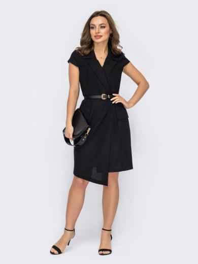 Черное платье-пиджак с асимметричным низом 53738, фото 1