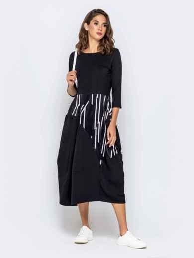 Чёрное платье с принтованной вставкой юбкой-тюльпан - 40591, фото 1 – интернет-магазин Dressa