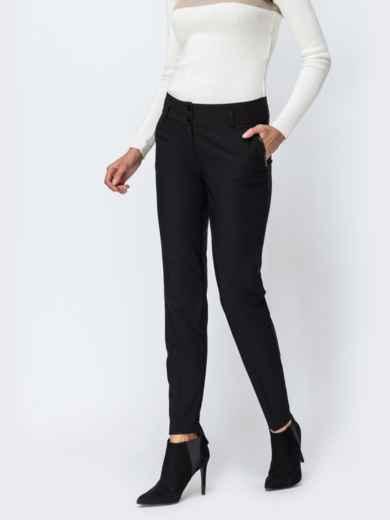 Чёрные брюки на флисе с отстроченными стрелками 42354, фото 1