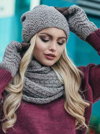 Комплект ажурной вязки с перчатками кофейный - 15552, фото 2 – интернет-магазин Dressa